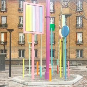 "Bruno Peinado. Installation. ""From Paris with love, un code et un corps pour une nouvelle métaphysique"". Porte Saint-Ouen (Paris, France). November 2018"